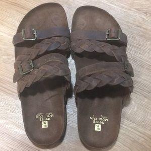 White mountain leather sandals